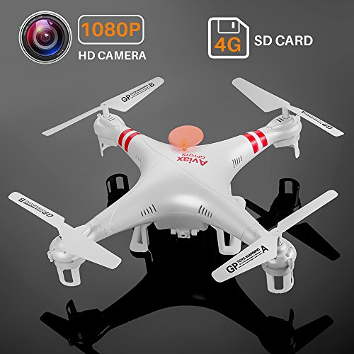 Ctronics Drones RC Helicopter QuadCopter F2C Aviax 4CH 2 4GHz 6 Axis Gyro  3D Flip UFO with HD 2 0M Pixels Camera,LED Flashing Lights,4G SD Card